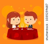 romantic dinner with candle... | Shutterstock .eps vector #1035259687