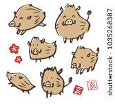 cute hand drawn wild boar... | Shutterstock .eps vector #1035268387