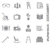 nursing home icons. gray flat... | Shutterstock .eps vector #1035268897