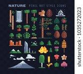 nature pixel art 80s style... | Shutterstock .eps vector #1035272023