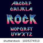 alphabet 80's retro font. fire...   Shutterstock .eps vector #1035274513