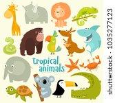 big set of vector animals.... | Shutterstock .eps vector #1035277123