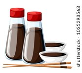 japanese chopsticks and soy... | Shutterstock .eps vector #1035293563