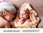 two sisters portrait | Shutterstock . vector #1035324217