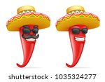mexican hat red cool hot chili... | Shutterstock .eps vector #1035324277