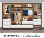 bedroom wardrobe closet storage ... | Shutterstock .eps vector #1035328537