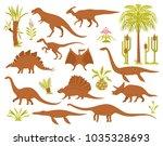 dino mesozoic era flora set... | Shutterstock .eps vector #1035328693