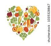 papercut style vegetables heart ... | Shutterstock .eps vector #1035328867