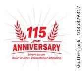 115 years anniversary logo.... | Shutterstock .eps vector #1035329317