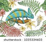 chameleon lizard  tropical... | Shutterstock .eps vector #1035334603