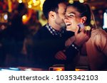 romantic couple dating in pub... | Shutterstock . vector #1035342103