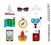 colorful set of travel icons in ... | Shutterstock .eps vector #1035353797
