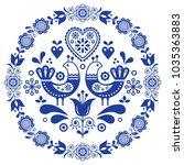 folk art vector round... | Shutterstock .eps vector #1035363883