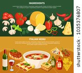 italian menu horizontal banners ... | Shutterstock .eps vector #1035376807