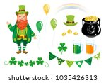 st. patrick's day decoration set | Shutterstock .eps vector #1035426313