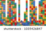 columns of cubes multicolored.... | Shutterstock . vector #1035426847