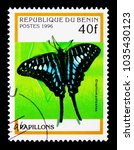 Small photo of MOSCOW, RUSSIA - NOVEMBER 26, 2017: A stamp printed in Benin shows Common Swordtail (Graphium policenes), Butterflies serie, circa 1996