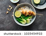 teriyaki chicken skewers ...   Shutterstock . vector #1035454933
