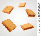 square biscuits salty crackers... | Shutterstock . vector #1035458143