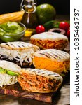 different types of arepas  the...   Shutterstock . vector #1035461737