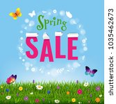 spring poster grass and flowers ... | Shutterstock .eps vector #1035462673