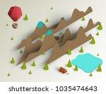 3d vector paper cut landscape... | Shutterstock .eps vector #1035474643