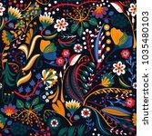 floral seamless pattern. hand... | Shutterstock .eps vector #1035480103