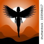 Silhouette Of Woman Angel....