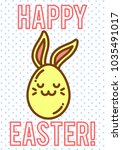 funny cartoon easter eggs with...   Shutterstock .eps vector #1035491017
