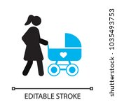 mother with baby carriage... | Shutterstock .eps vector #1035493753