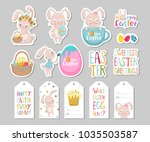 set of easter gift tags ... | Shutterstock .eps vector #1035503587