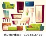 Vector cartoon set of furniture modern interior creation indoor furnishings | Shutterstock vector #1035516493