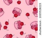 cake pattern. seamless... | Shutterstock .eps vector #1035528223