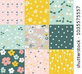 set of floral pattern  spring... | Shutterstock .eps vector #1035575557