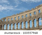 A piece of old roman arena - stock photo