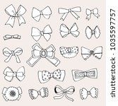 doodle set of bows | Shutterstock .eps vector #1035597757