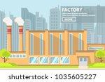 industrial factory flat vector. ... | Shutterstock .eps vector #1035605227