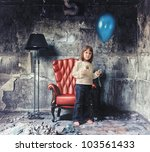 little girl   in grunge interior (Photo and hand-drawing elements combined) - stock photo