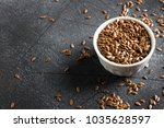 flax seeds linseed superfood... | Shutterstock . vector #1035628597