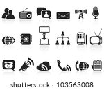 black communication icons set - stock vector