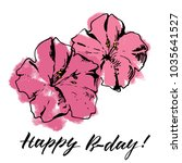 card with pink flowers | Shutterstock .eps vector #1035641527