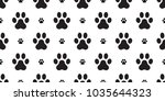 paw vector dog paw seamless... | Shutterstock .eps vector #1035644323