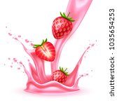 strawberry juice splash... | Shutterstock .eps vector #1035654253