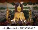 Small photo of Public place of the Golden Principle Buddha image in a temple.