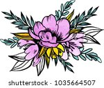 watercolor flowers illustration.... | Shutterstock . vector #1035664507