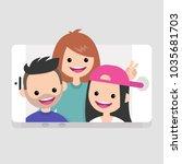 millennials making a selfie.... | Shutterstock .eps vector #1035681703