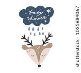 little deer face. hand drawn... | Shutterstock .eps vector #1035684067