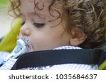 baby in sitting stroller with... | Shutterstock . vector #1035684637