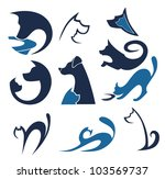 Stock vector cats and dogs vector pets collection 103569737
