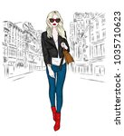 a beautiful girl in jeans  a...   Shutterstock .eps vector #1035710623